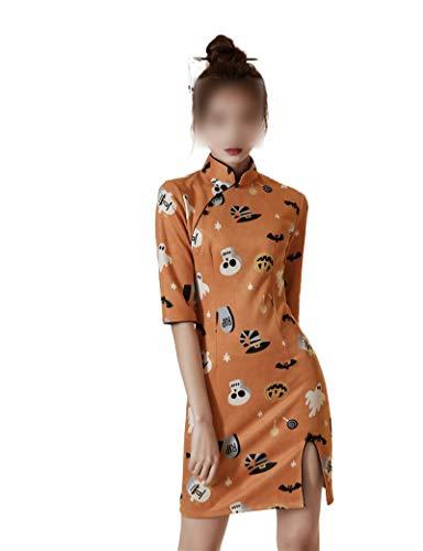 who-care China Estilo Elegante Diario Tradicional Vestido Mandarín Cuello Sexy Corto Qipao Señoras Chinas Ropa Gamuza Cheongsam