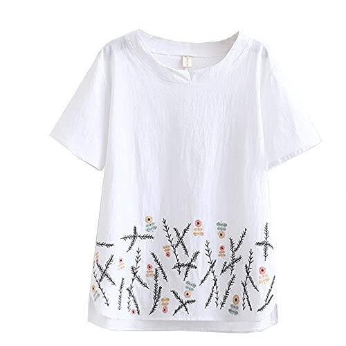 Verano de Las Mujeres de Gran tamaño Nueva Camisa de algodón de Manga Corta Estilo étnico Media Manga Bordada pequeña con Cuello en V Grasa mm Camiseta