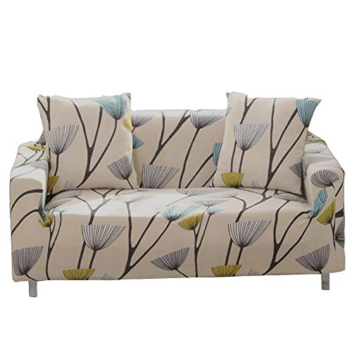 ENZER Sofa Slipcover Stretch Fabric Flower Bird Pattern Elastic Chair Loveseat Couch Settee Sofa Covers 1-Piece Pet Dog Protector (1 Seater, Dandelion)