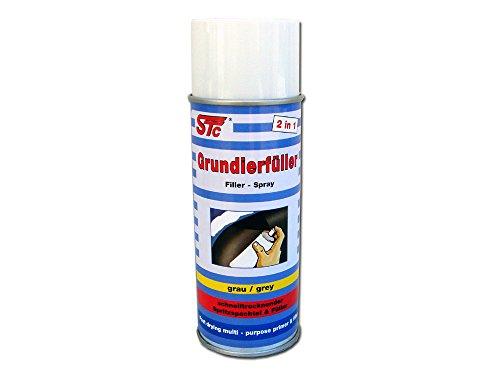 STC Grundierfüller Spray 400 ml 2 in 1 schnelltrocknende Grundierung grau und Füller Füllprimer Spritzfüller Spritzspachtel Primer