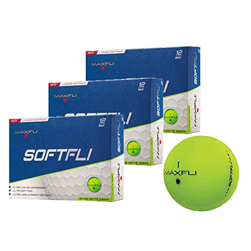 Maxfli SoftFli Matte Golf Balls - Longer Straight Distance - Soft Feel (Green - 36 Balls)