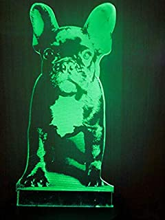 Jinnwell 3D French Bulldog Night Light Lamp Illusion Night Light 7 Color Changing Touch Switch Table Desk Decoration Lamps Perfect Christmas Gift with Acrylic Flat ABS Base USB Cable Toy (Bus)