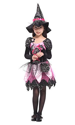 EOZY-Principessa Vestito Cospaly Bambina Carnevale Abito da Magico Strega Rosa (Petto 70-80cm)