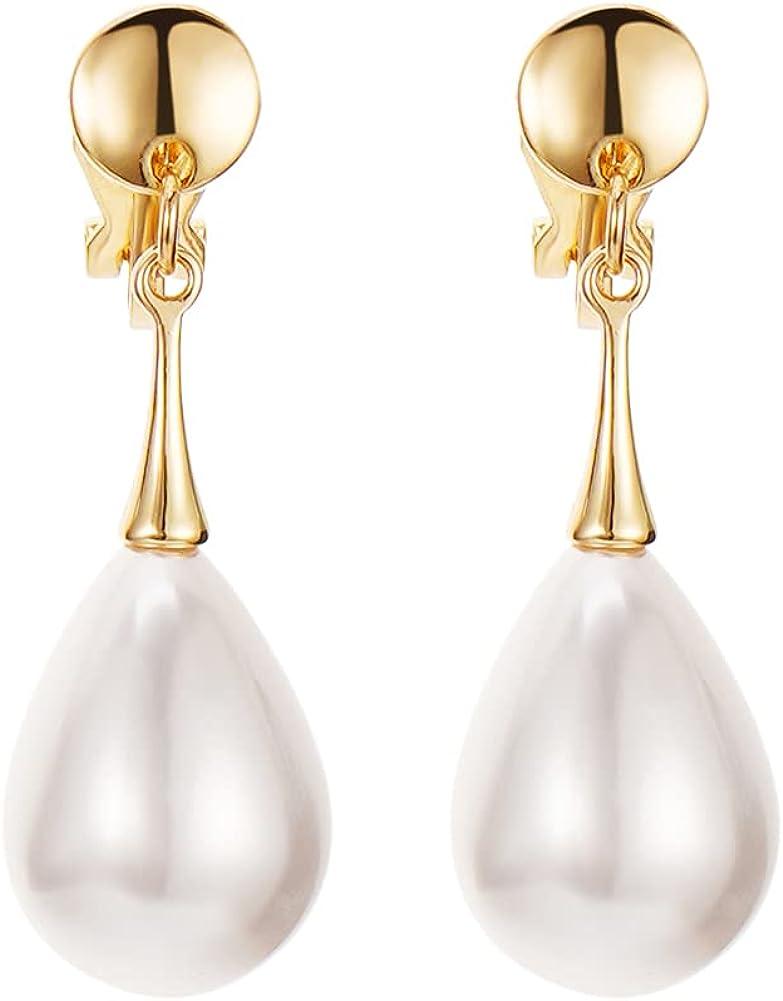 Pearl Clip on Earrings Drop Clip Earrings for Women Gold Plated White Imitation Pearl Earrings Fashion