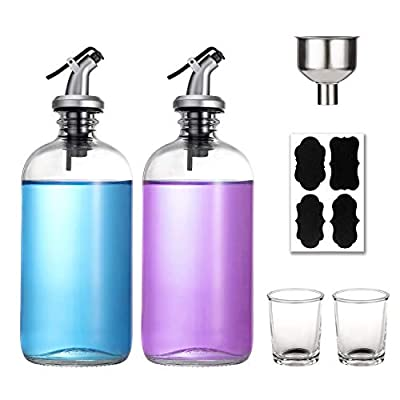 16-Ounce Glass Mouthwash Dispenser - Clear Glass Bottle with Pour Spout, Shot Glass, Funnel and Labels, Refillable Boston Round Bottles - 2 Pack