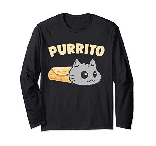 Kawaii Purrito divertido gatito gato burrito de la comida Manga Larga