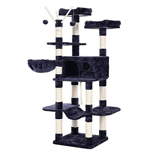 FEANDREA Arbre à chat XXL, Tour de jeux 164 cm, Gris anthracite PCT087G01