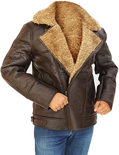 HiFacon Chaqueta de piel de oveja de aviador marrón RAF, británica, segunda guerra mundial y segunda guerra mundial real bombardero de piel sintética de piel de oveja - chaqueta de cuero para hombre
