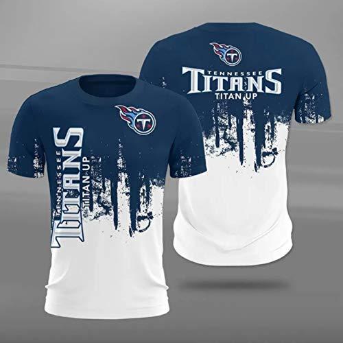 Xiaolimou NFL Jacksonville Jaguars Houston Texans Tennessee Titans Logo tee Crew Neck Camiseta para Hombre, Rugby Mangas Cortas, ultrafinas, cómodas y Transpirables,Titans,XXXL