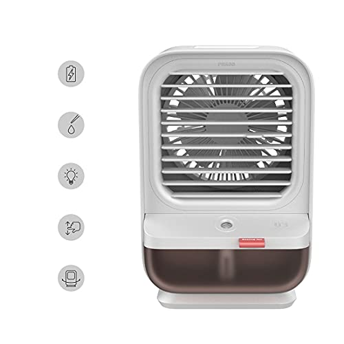 Mini Condizionatore D'aria Raffreddato Ad Acqua, Ricarica Usb Home Desktop Piccolo Dispositivo Di Raffreddamento Dell'aria Può Scuotere La Testa Per Umidificare La Ventola Elettrica Spra(Color:bianca)