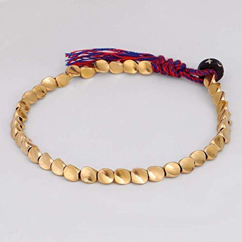 TYT Charm Bracelet Tibetan Copper Bead Lucky Rope Pulsera Hecha a Mano Amp; Brazaletes Lama Pulseras de Hilo de Algodón Trenzado a Mano para Mujeres Hombres,1