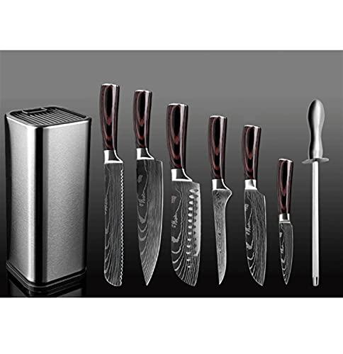 cuchillos Juego de cuchillos de acero inoxidable Profesional Cuchillo japonés Boningparing Cuchillo Tijeras Herramientas de cocina con bloque cocina (Color : 8PCS Set A)
