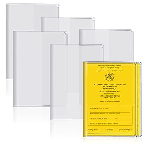 LEBEXY Impfpass Hülle Reisepass Schutzhülle Impfausweis, Heftform Schutzhülle Impfpasshülle für Impfbescheinigung Impfbuch 93 x 130 mm, Transparent, 6 Stück