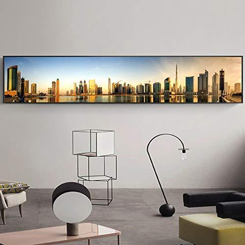N / A Moderne Stadtarchitektur Malerei Panorama Bild Wolkenkratzer Wandkunst Leinwand Schlafzimmer Wohnzimmer Dekoration Rahmenlos 35x190cm