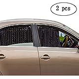 ZATOOTO Car Side Window Sun Shade - Magnetic Privacy Sunshades Window Curtain Keeps Cooler Screen for Baby Sleeping Black (2 Pcs)