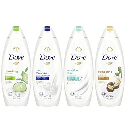Dove Mixed Body Wash Pack with Skin Natural Nourishers for Instantly Soft Skin and Lasting Nourishment Cleanser That Effectively Washes Away Bacteria While Nourishing Your Skin 4 Count