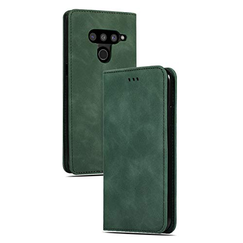 LUSHENG Capa de couro feita à mão para LG V50 ThinQ 5G, capa carteira magnética flip para LG V50 ThinQ 5G, função de fecho magnético de autosucção [suporte deformado] - verde