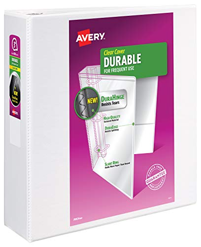 Avery Durable View Binder with 3-Inch Slant Ring, Holds 8.5 Inch x 11 Inch Paper, White, 1 Binder (17042)