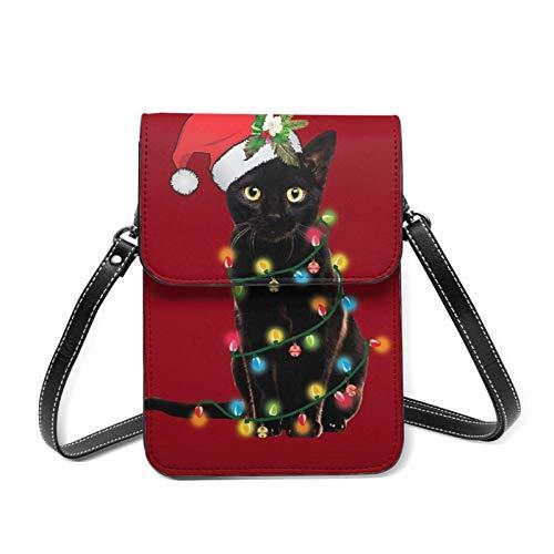 Kleine Handy-Tasche für Damen, Motiv: Weihnachtsbaum mit Weihnachtsmann, schwarze Katze, mit verstellbarem Riemen, Rot