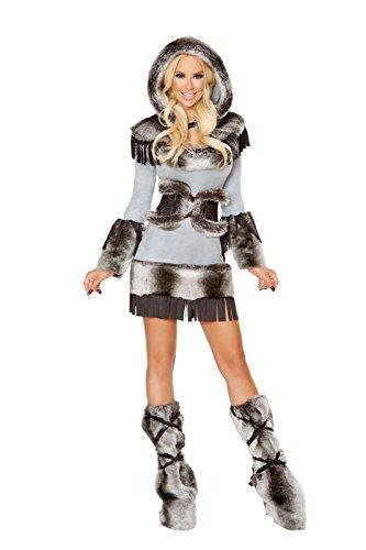 Roma Costume Eskimo Beauty Grey/Black Womens Sexy Party Costume - 3 Piece, Medium