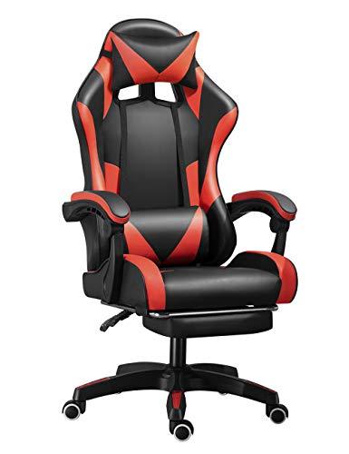 Silla reclinable de estilo cuero con reposabrazos de enlace para juegos con reposapiés, silla giratoria ergonómica ajustable con reposacabezas y almohada de apoyo lumbar (negro + rojo)