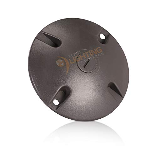 4 in. Round Weatherproof Electrical Junction Box Cover with 1/2 in. NPT Thread Outlet for Indoor/Outdoor Use – Landscape Accessories – Bronze