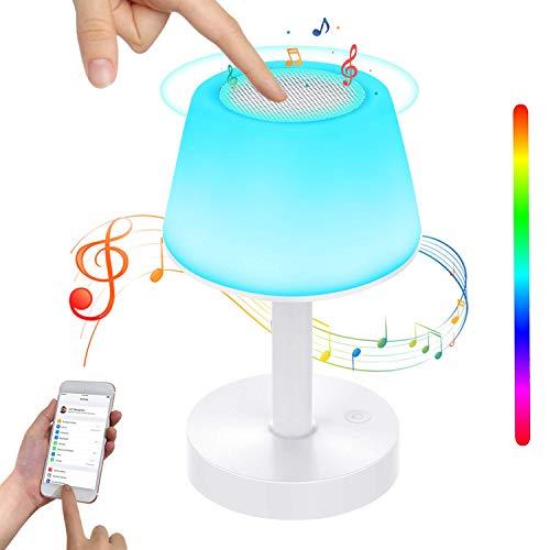 BelonLink Lámpara de Mesa, Luz de Noche LED con Altavoz Bluetooth, Control Tactil, Regulable, Cambio de Colores, USB Recargable, Reproductor de MP3 para Niños regalo, Habitación, Cámping