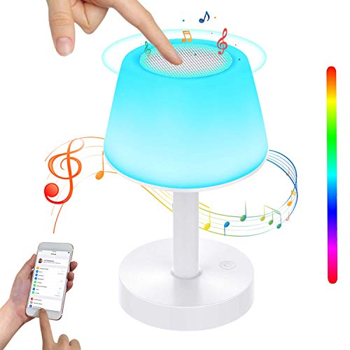 BelonLink Lámpara de Mesa, Luz de Noche LED con Altavoz Bluetooth, Control...