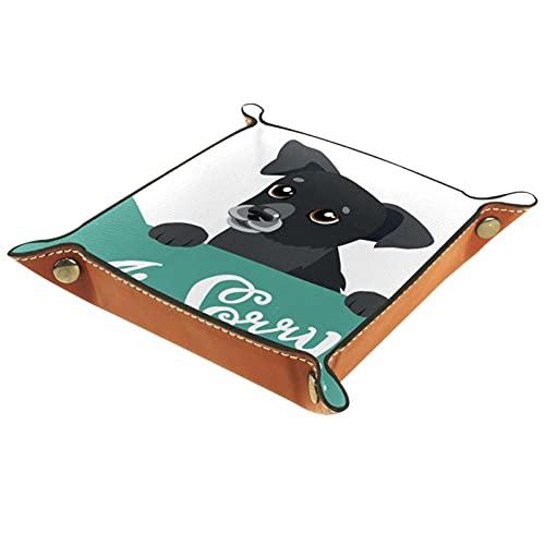 LynnsGraceland Bandeja de Cuero - Organizador - Perro Perrito Lindo - Práctica Caja de Almacenamiento para Carteras,Relojes,Llaves,Monedas,Teléfonos Celulares y Equipos de Oficina