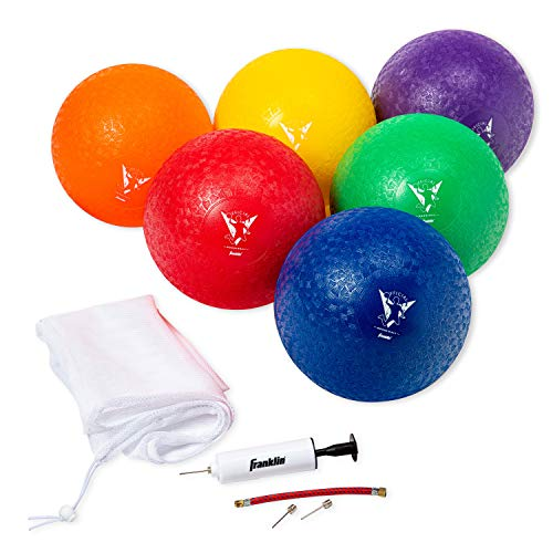 Franklin Sports Kids Dodgeballs - 6 Pack of 7 Inflatable Playground Balls for Kickball, Dodgeball and More - Soft Cover - Pump and Carry Bag Included