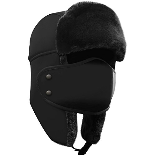 Winter Hat with Ear Flaps - AKASO Trooper Trapper Hat, Detachable Face Mask, Windproof Waterproof and Breathable, Faux Fur Ushanka Hunting Hat, Snow Hat for Men & Women, Free Neck Gaiter Included