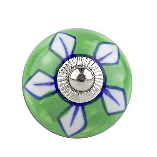Möbelknopf Möbelknauf,Möbelknöpfe, Möbelgriff, Vintage Keramik Porzellan 14002-E 061 JKGH grün_weiss