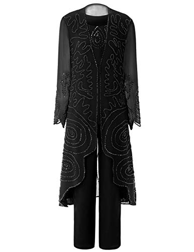 Vincent Bridal Women's 3 Pieces Pants Suit Formal Beaded Mother of The Bride Dresses with Jacket for Wedding