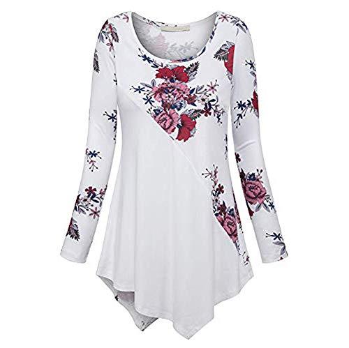 Xmiral Pullover Tops Camicia Donna Taglie Forti Manica Lunga Stampa O-Collo Bottone (XXL,Bianca)