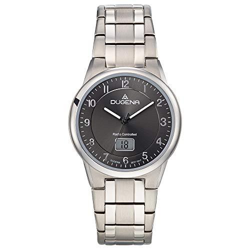 Dugena Herren Funk-Armbanduhr, Allergikerfreundliches Titan, Gehärtetes Mineralglas, Gent Funk, Silber, 4460835