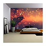 wall26 - Illustration - Astronaut Sitting on Cliff'S Edge and Looking to Fireflies,Illustration Painting - Removable Wall Mural | Self-Adhesive Large Wallpaper - 100x144 inches
