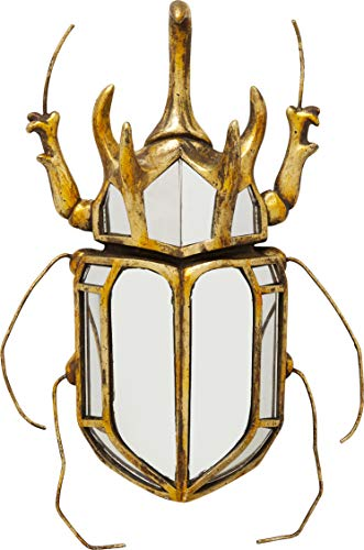Kare Design Wandschmuck Beetle Mirror, gold verspiegeltes Accessoire für die Wand, Tier Form, Käfer in Spiegel Optik, verschiedene Ausführungen erhältlich (H/B/T) 36,5x27,5x6,5cm