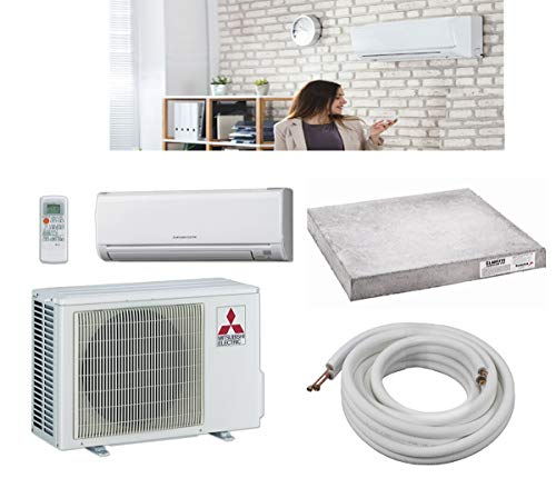 Mitsubishi 18,000 BTU SEER 18 Wall Mount Ductless Mini-Split Inverter Cool & Heat Pump System 1.5 Ton Energy Efficient with Lines & Pads