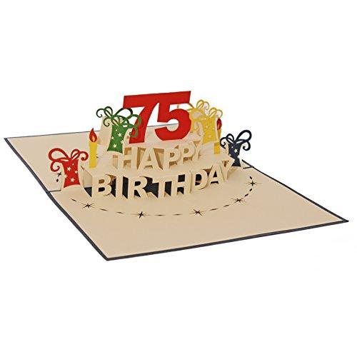 Favour Pop Up Glückwunschkarte zum runden 75. Geburtstag. Ein filigranes Kunstwerk, das sich beim Öffnen als Geburtstagstorte entfaltet. ALTA75B
