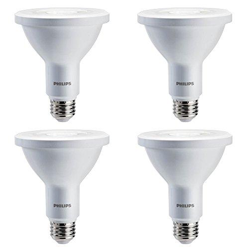 Philips LED Indoor/Outdoor Classic Glass Dimmable PAR30S 40-Degree Spot Light Bulb: 850-Lumen, 3000-Kelvin, 10-Watt (75-Watt Equivalent), E26 Base, Bright White, 4-Pack