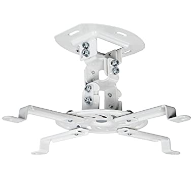 VIVO Universal Adjustable White Ceiling Projector / Projection Mount Extending Arms Mounting Bracket (MOUNT-VP01W)