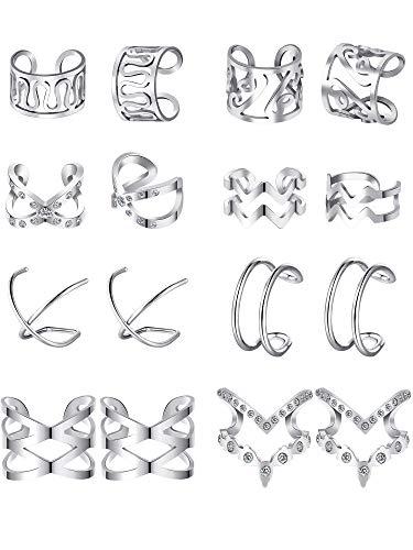 8 Paare Edelstahl Ohr Manschette Ohrklemme Nicht Piercing Clip auf Knorpel Ohrringe für Männer Damen (Stil Set 2, Stahl)