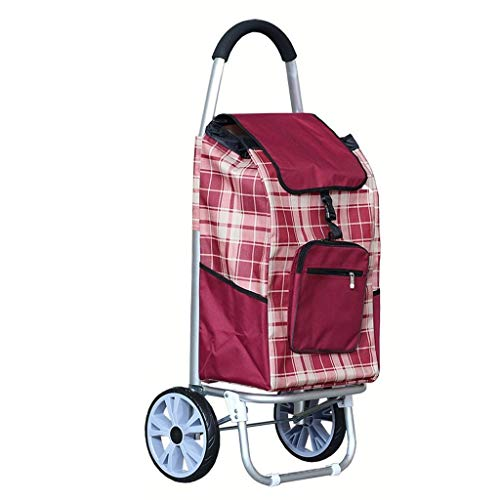 BOC Transporte de remolque de gran capacidad de peso ligero ruedas de la carretilla empuje bolsa de la compra con 2 Ruedas,rojo