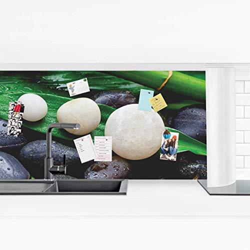 Küchenrückwand - Grüner Bambus mit Zen Steinen 100 x 350cm Premium