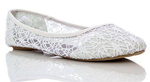 Charles Albert Women's Breathable Crochet Lace Ballet Flat in White Size: 8