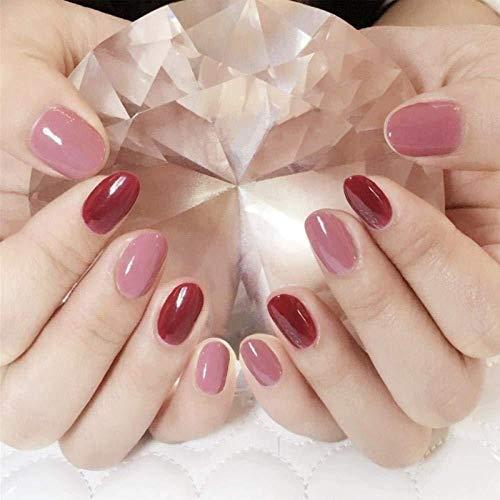CSCH Faux ongles Faux ongles rouge poudre ronde tête solide couleur artificielle ongles finition manucure patch