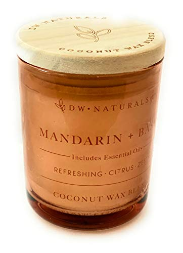 DW Naturals Mandarin and Basil Coconut Wax Blend Travel Size Candle with Wooden Top 3.8 Oz