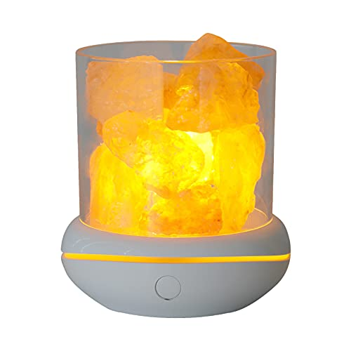 Irishom Luz de Noche de Piedra de Sal de Cristal 7 Colores Lámpara de Cristal de Roca LED Difusor de Aceite Esencial USB Portátil para La Decoración de Escritorio del Dormitorio de La Oficina