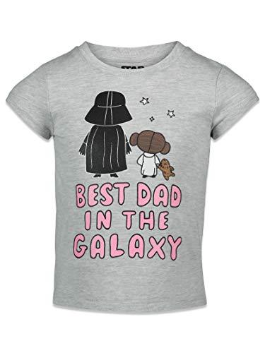 STAR WARS Darth Vader Princess Leia Big Girls Graphic T-Shirt Gray 7-8