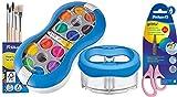 Pelikan Deckfarbkasten Space+ 735 SP/12 mit 12 Farben und 1 Tube Deckweiß/Starter-Set (blau mit Space-Wasserbecher + Pinsel-Set + Bastelschere)
